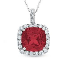 Lab-Created Cushion-Cut Ruby and White Sapphire Pendant in 10K White Gold with Diamond Accents - Zales $149.99