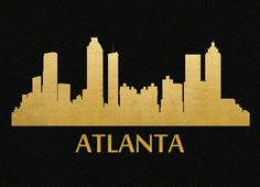 Atlanta Skyline Gold Foil Print 8x11 by GarageShirtsInk on Etsy