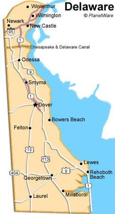 Delaware - I lived in Greenville Delaware, near Winterthur, north of Wilmington. The north part of Delaware near PA . a beautiful area (also home to Vice President Joe Biden) - Delaware is 95 miles long and 9 - 35 miles wide and has only 3 counties. Lewes Delaware, Delaware State, Map Of Delaware, Delaware Beach, Travel Info, Travel Usa, Travel Guide, Mid Atlantic States, Rehoboth Beach