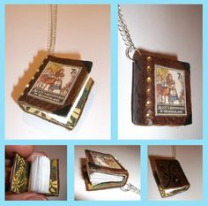 Alice in Wonderland Miniature Leather Journal Necklace