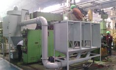 Downdraft Table for Automobile Manufacturer  Dynavac supplied downdraft table with capability for 6 people to work alongside and across from each other, attached to a DC 7 LF PJ model dust collector.  For safety reasons, the following were also provided: Duct temperature sensor Fire damper Explosion membrane