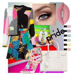 """""""Classy pride look"""" by queenkbaby ❤ liked on Polyvore featuring Moschino, Alice + Olivia, Yves Saint Laurent, Lime Crime and Deborah Lippmann"""