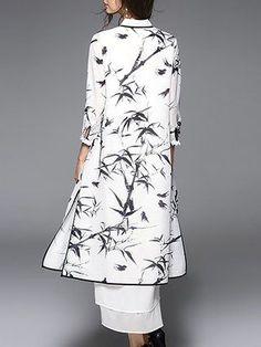 White Two Piece Printed 3/4 Sleeve Midi Dress