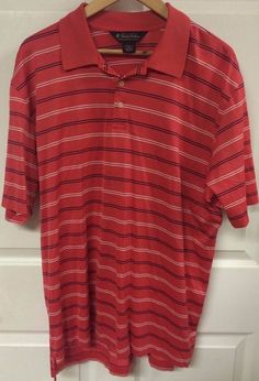 Brooks Brothers Mens Performance Knit Pink Striped Golf Polo Shirt Size Large  #BrooksBrothers #Polo