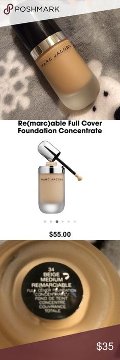 MARC JACOBS ~ RE(MARC)ABLE FULL COVER FOUNDATION MARC JACOBS ~ RE(MARC)ABLE FULL COVER FOUNDATION ~ SHADE IS 34 BEIGE MEDIUM - LIGHT TO MEDIUM SKIN WITH PEACH UNDERTONES ~ LESS THAN 1/4th USED ~ 💯% AUTHENTIC Marc Jacobs Makeup Foundation