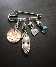 Wedding Tradition Pin-Something Old, Something New, Something Borrowed, Something Blue-Gift for the Bride, Swarovski Crystal Heart & Pearls