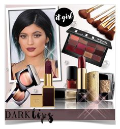 """Dare to Wear: Super Dark Lipstick"" by matildiwinky ❤ liked on Polyvore featuring beauty, Bobbi Brown Cosmetics, Lancôme, Tom Ford and Chanel"