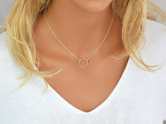 Dainty Circle Necklace, Karma Necklace, Delicate Gold Filled or Sterling Silver Necklace, Eternity Necklace
