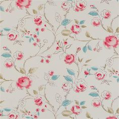 Clarke & Clarke Milly Fabric, suitable for curtains and soft furnishings. Clarke And Clarke Fabric, Chintz Fabric, Vintage Curtains, Country Chic, French Country, Roman Blinds, Fabulous Fabrics, Fabric Wallpaper, Curtain Fabric