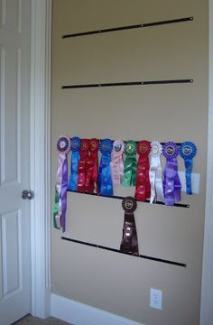 Where are my horse show friends? Sarah has been riding since she was four and showing since she was nine. Award Ribbon Display, Horse Ribbon Display, Horse Show Ribbons, Award Display, Trophy Display, Display Wall, Display Ideas, Ribbon Quilt, Cabinets