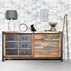 Buffet industriel porte coulissante bois coloré - Made in Meubles