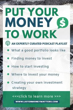 Investment education is key to investment success. Listen to this playlist to get the lowdown on investing--how to spot a good portfolio, find money to invest, start investing and where, and create your own investment strategy. investing for beginners, Money Tips, Money Saving Tips, Money Hacks, Where To Invest, Investment Tips, Investment Property, Investment Companies, Investment Casting, Investment Quotes