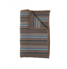 """RANI ARABELLA Cashmere Gray Beige And Light Blue Kent StripesThrow. 50"""" x 70"""". Made in Italy."""