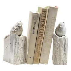 Whitewashed Bird Bookends - Set of 2 ($44) ❤ liked on Polyvore featuring home, home decor, small item storage, bird bookends, wall book shelf, home decorators collection, book ends and wall mounted book shelf