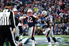 "Green-Ellis points to team's ""MHK"" patch after scoring touchdown, a tribute to Myra Kraft - AFC Championship: Patriots vs. Ravens - Sun, Jan 22, 2012 Gillette Stadium"