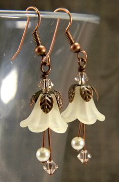 Sepia Fairy Earrings Ivory Swarovski Pearls & Silk Crystals Antique Copper and Lucite Flower Beaded Jewelry Victorian Bellflower