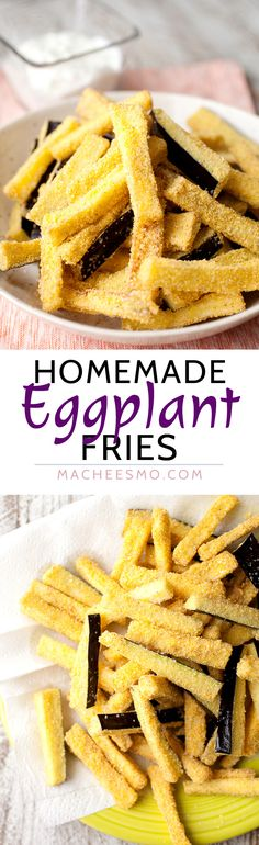Homemade Eggplant Fries: Crispy sticks of fried eggplant are one of my favorite side dishes. Relatively easy to make and perfect with a quick mint and yogurt dipping sauce! | macheesmo.com
