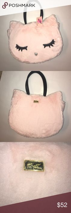 "NWT Betsey Johnson Bailey Plush Kitty Cat Purse NWT! Adorable blush (and plush!) purse with black and white striped lining. Has two inside side pockets and one zipper pocket. Magnetic button clasp closes the purse. Approximately 14.5"" L x 9"" H x 3.5"" Betsey Johnson Bags Totes"