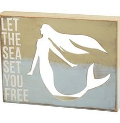 Mermaid - Let the Sea Set You Free - Coastal Cutout Wood Box Sign - 13-in x 10-in