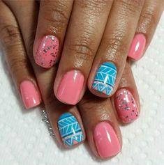 Pink & Blue Tribal Nail Design