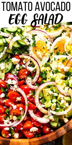 You're going to love this beautiful Chopped Egg, Cucumber and Tomato Salad! It's amped up with bright cherry tomatoes, diced avocado, jalapenos, curly slices of fresh red onion, English cucumber and a tangy homemade Dijon vinaigrette. #avocado #eggsalad