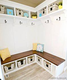 DIY Mudroom Corner Bench - with this step by step tutorial, you can make a mudroom corner bench that adds both beauty and function! bench under window DIY Mudroom Corner Bench Tutorial Bedroom Furniture Redo, Corner Furniture, Diy Furniture Plans, Furniture Removal, Furniture Projects, Concrete Furniture, Inexpensive Furniture, Furniture Nyc, Furniture Websites