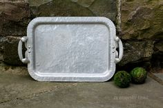 Aluminum Rectangular Serving Tray w Etched by NorthMajestyTrail