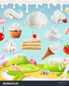 Whipped Cream, Milk Twirl, Ice Cream, Cake, Cupcake, Candy, 3d Mesh Illustration - 461337487 : Shutterstock