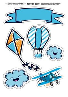 Flying for Boys: Free Printable Cake Toppers. Dibujos Baby Shower, Scrapbook Bebe, Cake Templates, Baby Stickers, Baby Shawer, Baby Album, Baby Shower Balloons, Cake Toppers, Smurfs