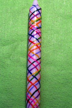 Hand Painted Beltane Maypole Candle.