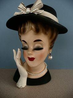 "Vintage Inarco LG 7"" Lady Head Vase"