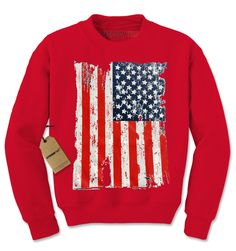 Distressed American USA Flag Adult Crewneck Sweatshirt