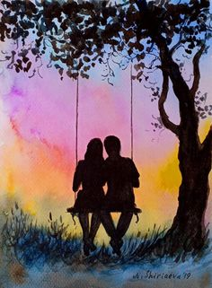ACEO Watercolor Couple Original Painting Small Mini Art Swinging Love Romantic Art by NataShRay painting couple ACEO Watercolor Couple Original Painting Small Mini Art Swinging Love Romantic Art by NataShRay Swing Painting, Couple Painting, Love Painting, Painting & Drawing, Cute Canvas Paintings, Acrylic Painting Canvas, Romantic Paintings, Paintings Of Couples, Cute Couple Drawings