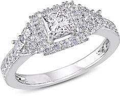 Ice Julie Leah 1 CT TW Princess-Cut Diamond 14K White Gold Ring
