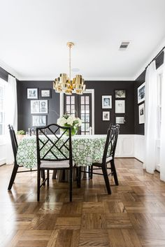 Black painted walls can be intimidating. Try braking it up with lower white paneling and some art to hang on the walls! - XOLU