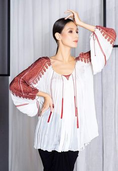 Valentina Vidrascu Editorial Fashion, Ruffle Blouse, Lace, Long Sleeve, Sleeves, How To Make, Traditional, Tops, Design