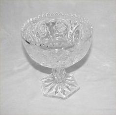 Vintage Glass Dish Pedestal Bowl American Brilliant Floral Intaglio Sawtooth