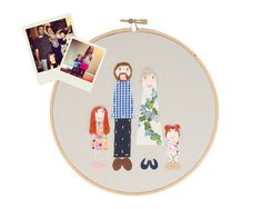 ➸ Home Decor: We love hanging family portraits in our home and this is the perfect way to have your family immortalized forever...plus your guest will most likely go gaga over it!  Dandelyne does the most amazing and interesting custom work...be sure to check out her mini hoops too!   Custom family portrait of 4  family photo embroidered by dandelyne, $90.00