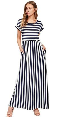 Product name: Contrast Striped Full Length Dress at SHEIN, Category: Dresses Dress Outfits, Casual Dresses, Fashion Dresses, Fashion Fashion, Fashion Ideas, Vintage Fashion, Party Outfits, Dress Clothes, Work Outfits