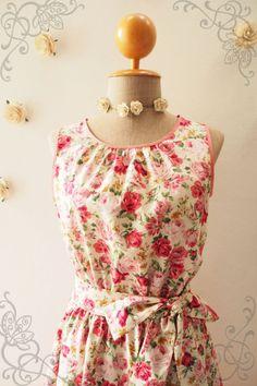 DARLING TEA DRESS : Plus size Floral Dress Pink Rose por Amordress