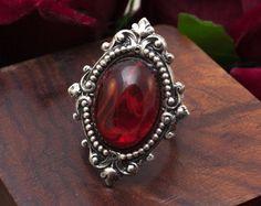 Gothic Fantasy Ring Vitrail Light Swarovski от NocturneHandcrafts