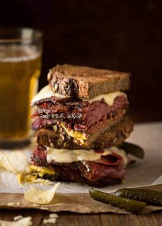 Easy Homemade Pastrami sandwich cut in half, stacked on top of each other. Pastrami Sandwich, Roast Pork Sandwich, Meat Recipes, Slow Cooker Recipes, Cooking Recipes, Sandwich Recipes, Recipies, Chorizo, How To Make Pastrami