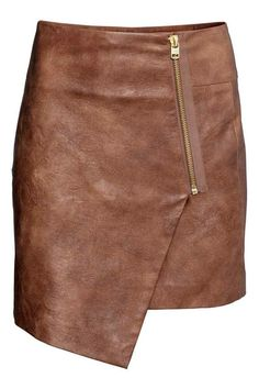 Tan faux suede wraparound skirt with exposed zipper. DIY the look yourself: http://mjtrends.com/pins.php?name=brass-zipper-for-skirt_3