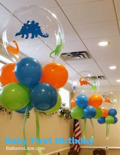 Clear Balloons Centerpieces - Clear Balloons Centerpieces Baby First Birthday Balloons can be personalize with any colors and theam Dinasour Birthday, Dinosaur First Birthday, First Birthday Balloons, Boys First Birthday Party Ideas, Baby Boy 1st Birthday, Boy Birthday Parties, Birthday Party Decorations, Balloon Table Decorations, Elmo Birthday