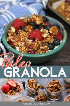 You're in for a treat with this Paleo Granola recipe! Delicious on its own or served on top of canned coconut milk or yogurt. Paleo Food List, Paleo Meal Prep, Paleo Pizza, Paleo Bread, Paleo Dinner, Primal Recipes, Real Food Recipes, Paleo Recipe Videos, Disney Recipes