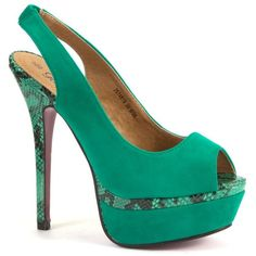 Green Patent Snake Print Slingback Sandals ($47) ❤ liked on Polyvore