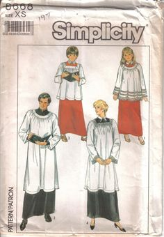 Vintage Simplicity Factory Folded  Choir Robes Tissue Pattern 8668 Size XS…