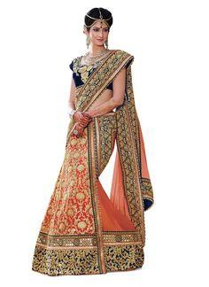 Designer Peach Colour Pure Georgette Heavy Work Lehenga Choli Buy Sarees