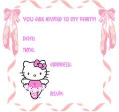 Tarjeta de Invitación para imprimir gratis Hello Kitty ...