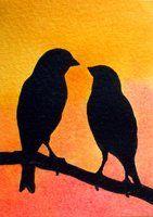 Love Birds Silhouette by MoranArt.devianta… on Love Birds Silhouette by MoranArt. Vogel Silhouette, Bird Silhouette Art, Silhouette Painting, Silhouette Projects, Silouette Art, Love Birds Painting, Love Birds Drawing, Bird Stencil, Bird Drawings